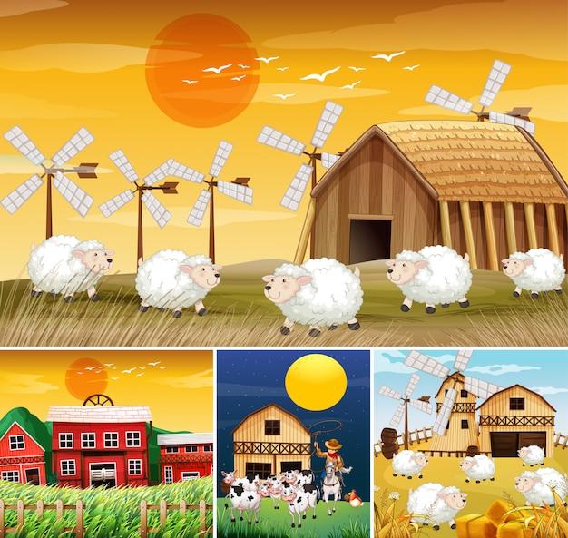 Conjunto de cenas diferentes da fazenda com estilo cartoon de fazenda animal Vetor grátis