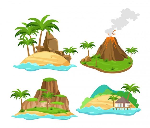 Conjunto de cenas diferentes de ilhas tropicais com palmeiras e montanhas, vulcão isolado no fundo branco, em estilo cartoon plana. Vetor Premium