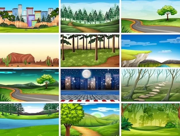 Conjunto de cenas em cenário natural Vetor grátis