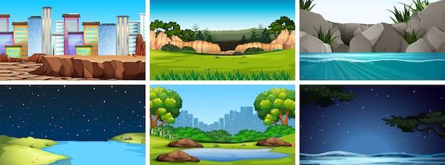 Conjunto de cenas no cenário da natureza Vetor grátis