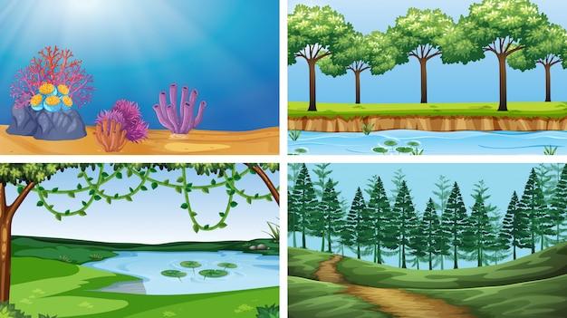 Conjunto de cenas no cenário de natureza ou plano de fundo Vetor grátis