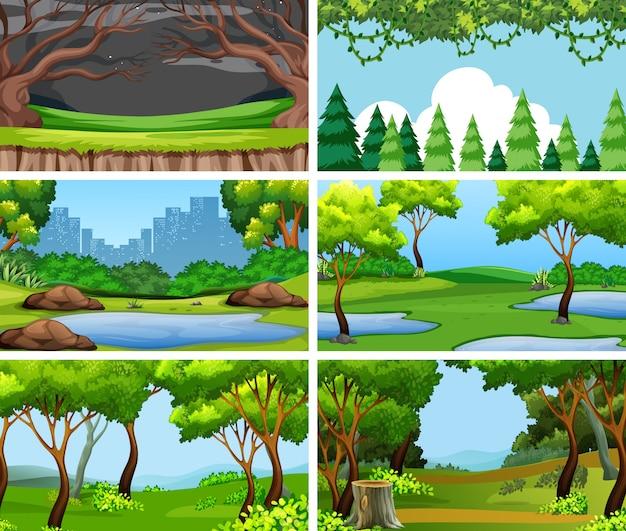 Conjunto de cenas ou plano de fundo na natureza Vetor grátis