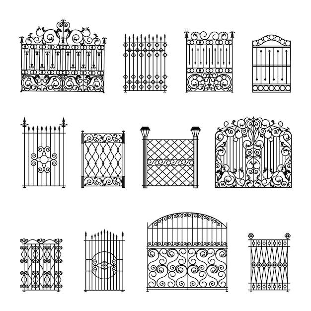Conjunto de cercas decorativas Vetor grátis