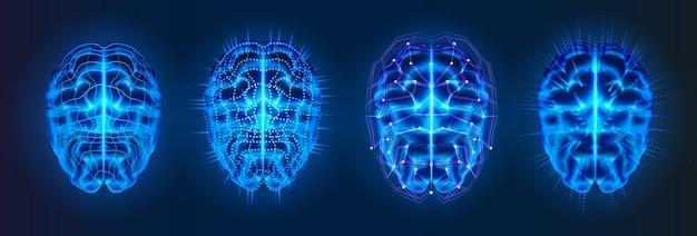 Conjunto de cérebros brilhantes azuis isolados com linhas de conexão neural Vetor Premium