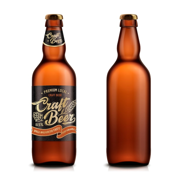 Conjunto de cerveja artesanal, um modelo de recipiente em branco, um com rótulo ed no fundo branco na ilustração Vetor Premium