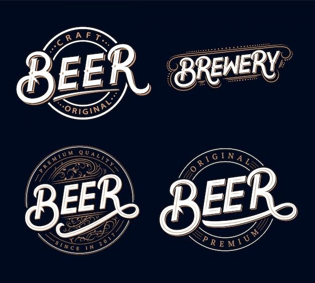 Conjunto de cerveja e cervejaria mão escrita letras logotipos Vetor Premium