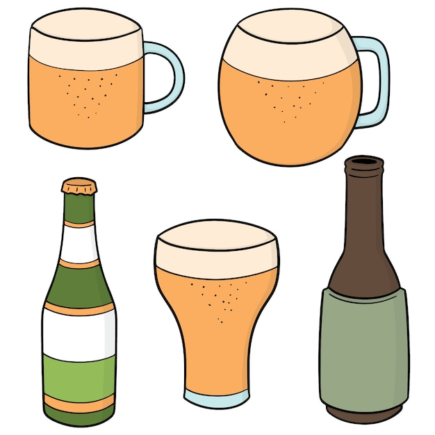 Conjunto de cerveja Vetor Premium