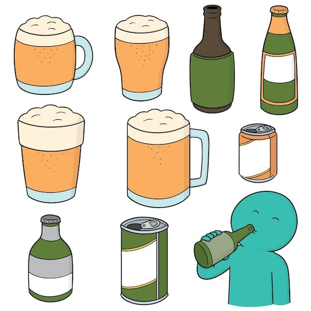 Conjunto de cervejas Vetor Premium
