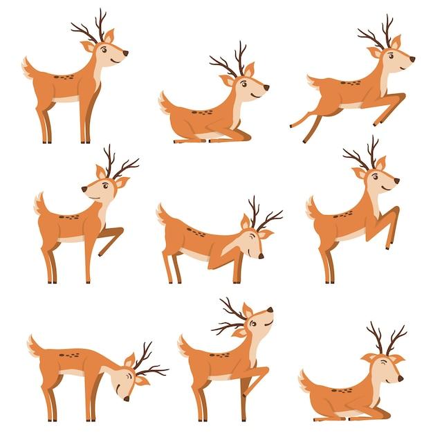 Conjunto de cervos correndo e pulando Vetor Premium