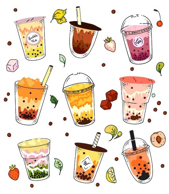 Conjunto de chá de bolhas. bebida de chá de leite de pérola gelado isolado em vidro e coleção de copo de plástico para viagem. ilustração em vetor verão asiático bolha chá bebida Vetor Premium