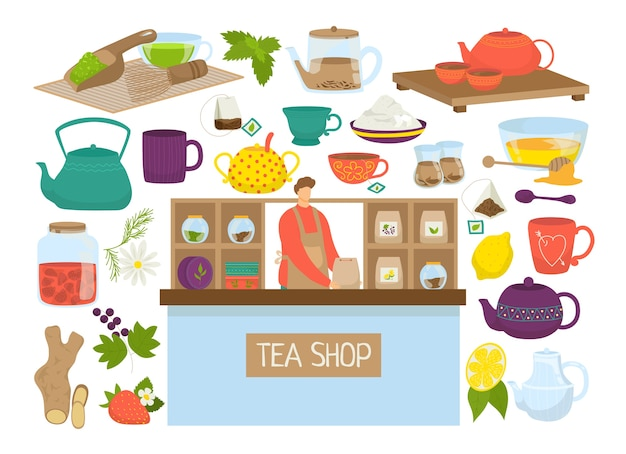 Conjunto de chá de ilustração. ícones de bule, mutcha, coleção de chaleiras. saquinho de chá, limão, copo. símbolos de cerimônia de hora do chá. tipos de chá em casa de chá para restaurante chinês ou japonês. Vetor Premium