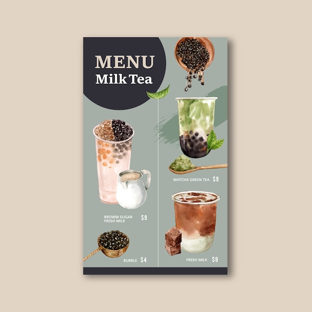 Conjunto de chá de leite de bolha de açúcar mascavo e matcha menu, anúncio conteúdo vintage, ilustração de aquarela Vetor grátis