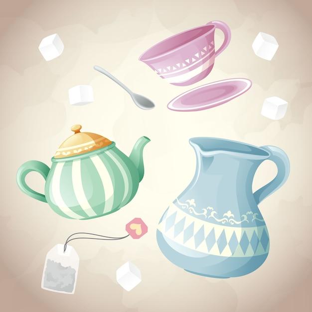 Conjunto de chá de recipiente e objeto de açúcar Vetor Premium