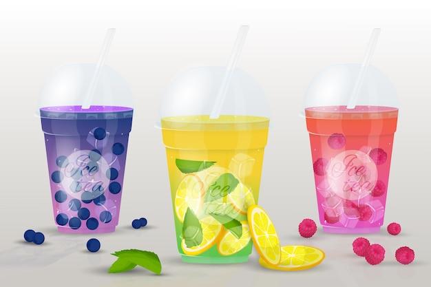 Conjunto de chá gelado. copos de sucos de frutas frescas, smoothies Vetor Premium