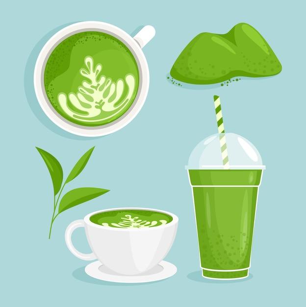 Conjunto de chá matcha. matcha café e chá, xícaras com bebidas matcha com leite, desenho animado Vetor Premium