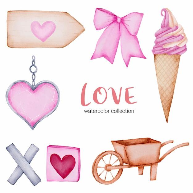 Conjunto de chamada de amor, elemento de conceito isolado aquarela valentine adorável romântico vermelho-rosa corações para decoração, ilustração. Vetor grátis