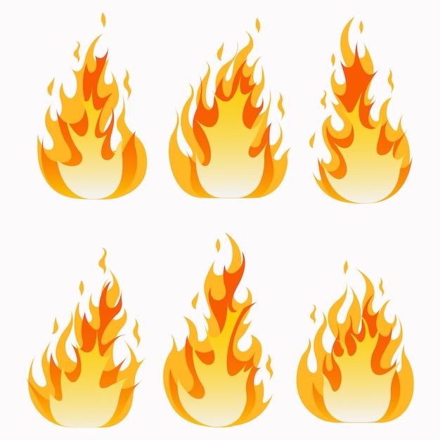 Conjunto de chamas de fogo e efeito de luz de linha. Vetor Premium