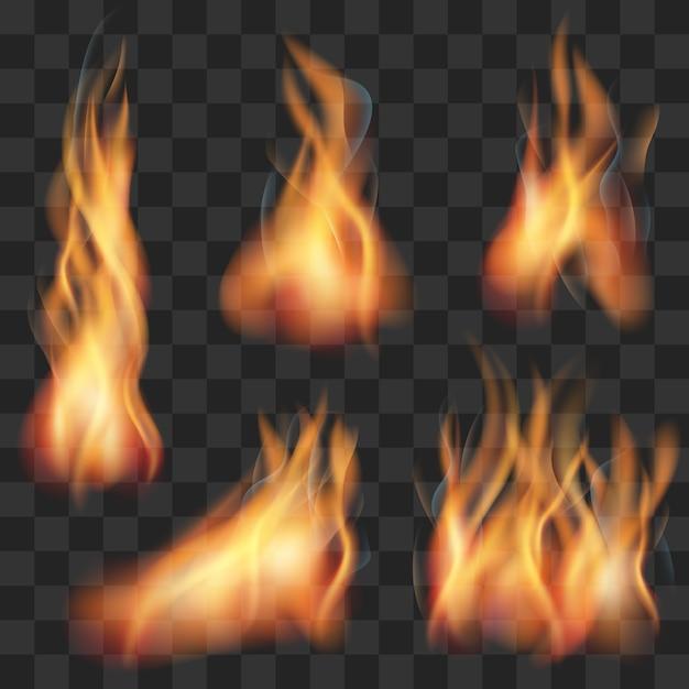 Conjunto de chamas de fogo transparente realista de vetor Vetor Premium