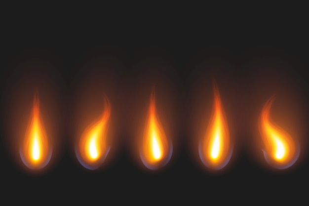 Conjunto de chamas de vela em tons de dourado e vermelho Vetor grátis
