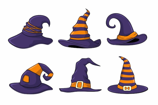 Conjunto de chapéu de bruxa Vetor Premium