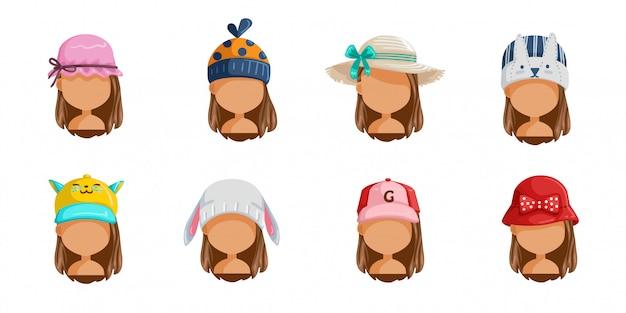 Conjunto de chapéu de menina. coleção de rostos femininos. userpics de crianças de estilo de cabelo diferentes. Vetor Premium