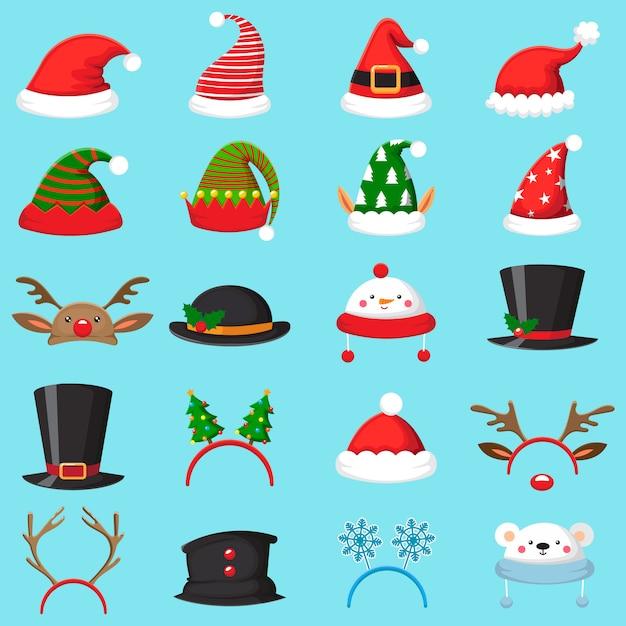 Conjunto de chapéu de natal dos desenhos animados Vetor Premium