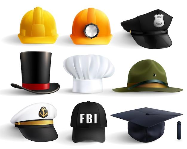 Conjunto de chapéus de diferentes profissões Vetor grátis