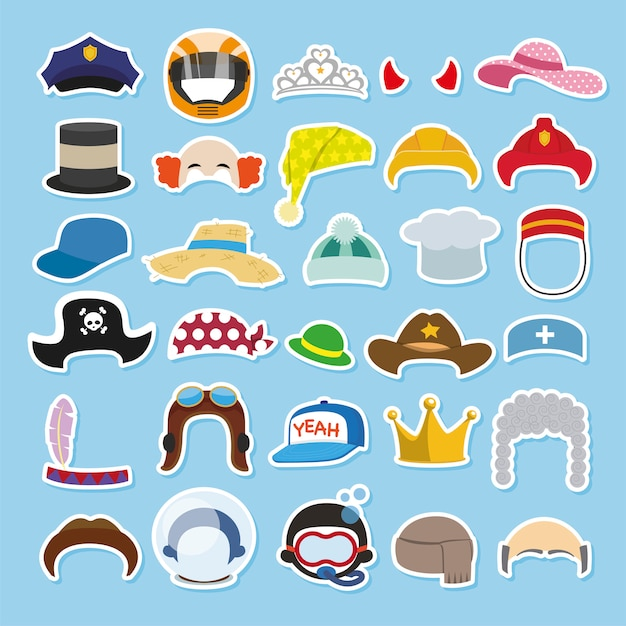 Conjunto de chapéus engraçados e bonés Vetor Premium