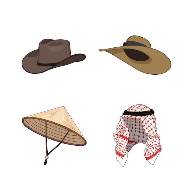 Conjunto de chapéus tradicionais e acessórios de cabeça. chapéu de bambu chinês ou vietnamita triângulo, chapéus de cowboy nad senhora, lenço de cabeça árabe muçulmano. Vetor Premium