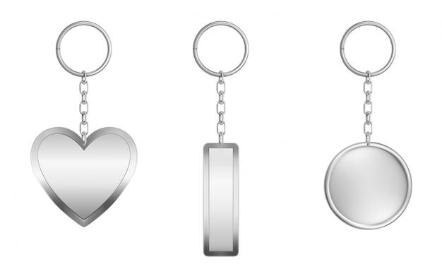 Conjunto de chaveiros. metal redondo, retangular e coração Vetor grátis