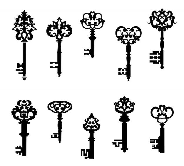 Conjunto de chaves antigas Vetor Premium