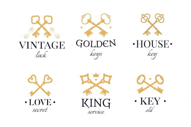 Conjunto de chaves de ouro vintage Vetor grátis