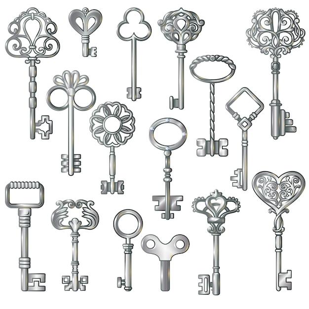 Conjunto de chaves de prata Vetor grátis