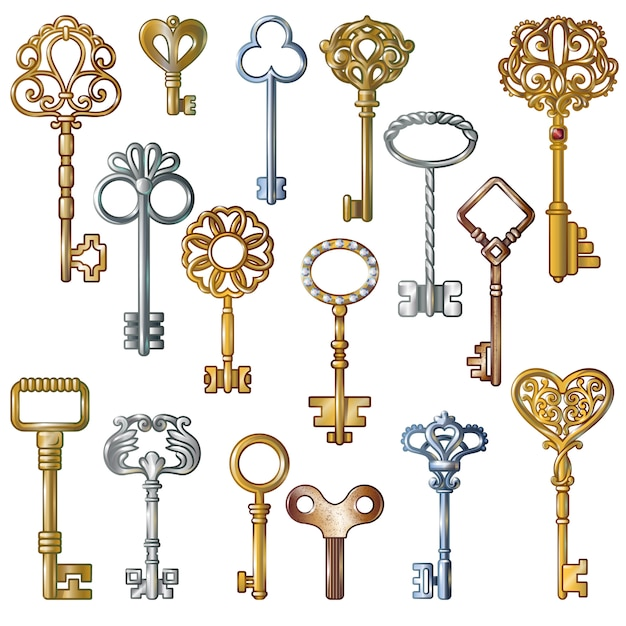 Conjunto de chaves vintage Vetor grátis