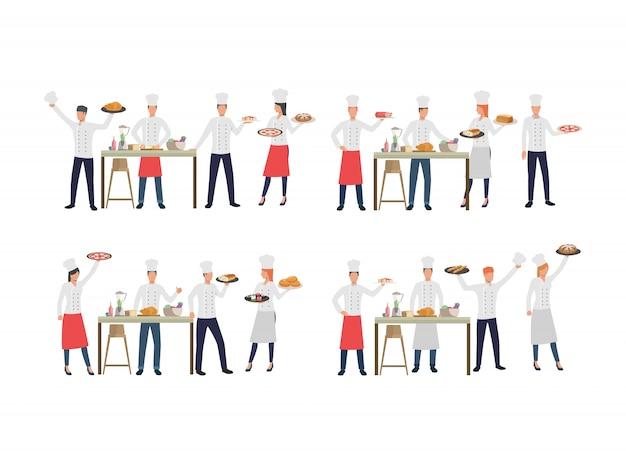 Conjunto de chefs com vários pratos Vetor grátis