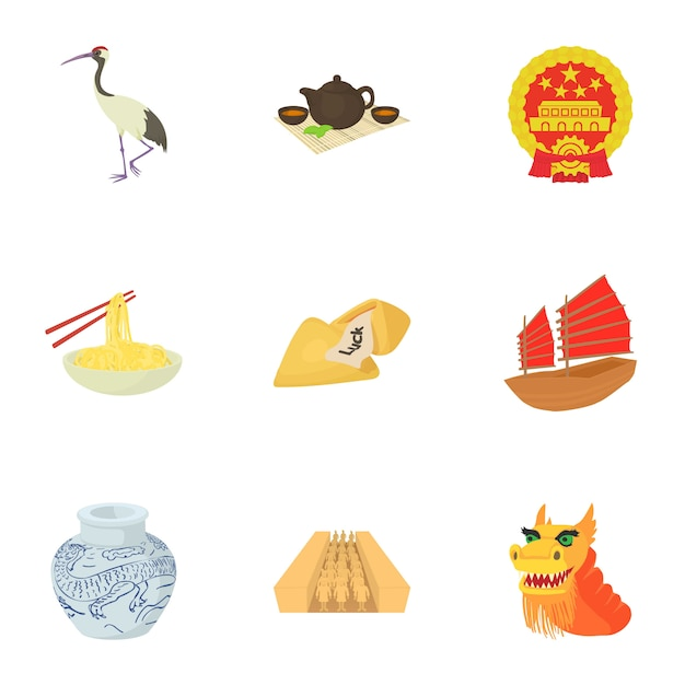 Conjunto de china, estilo cartoon Vetor Premium