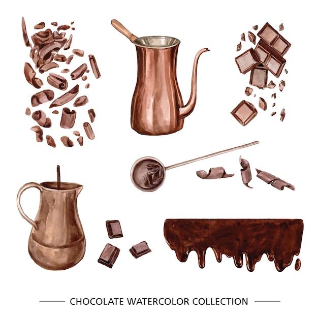 Conjunto de chocolate em aquarela Vetor grátis