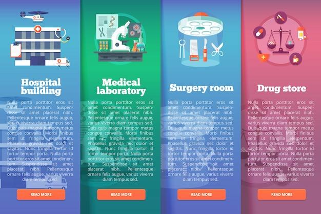 Conjunto de ciência médica s. conceitos de layout vertical de medicina e saúde. estilo moderno. Vetor Premium
