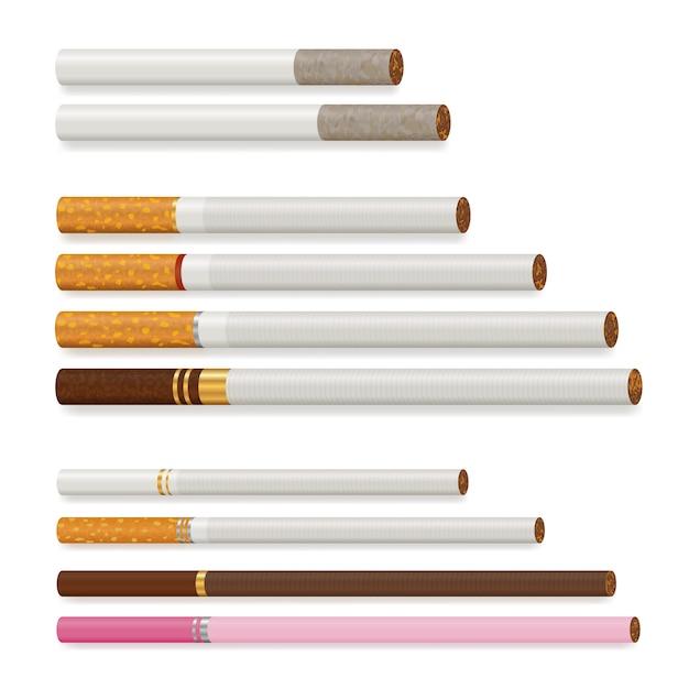 Conjunto de cigarro realista Vetor grátis