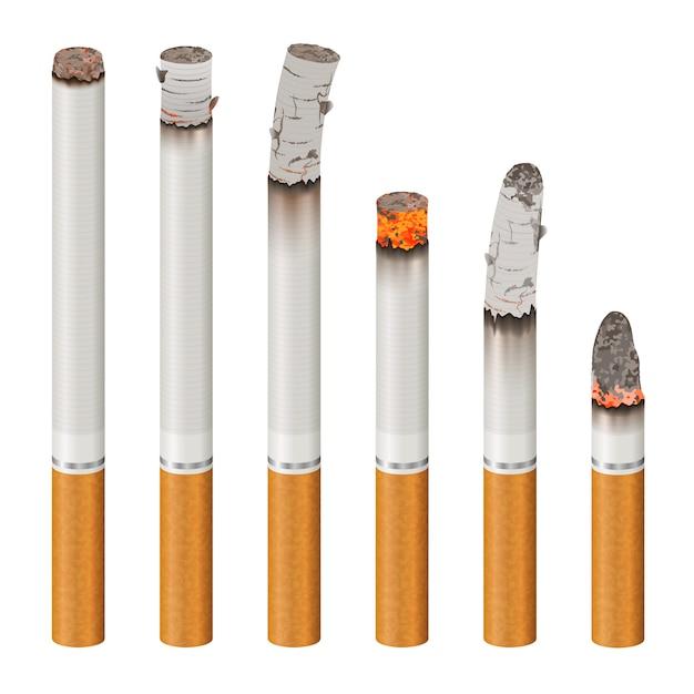 Conjunto de cigarros realistas de estágios de queimadura Vetor grátis