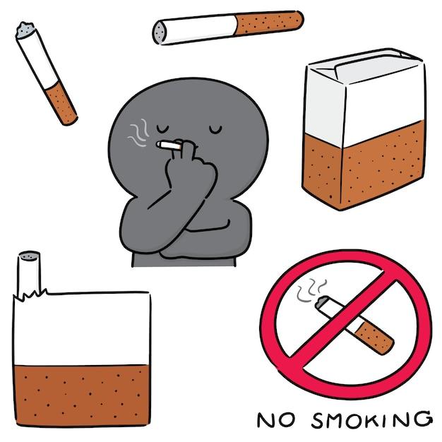 Conjunto de cigarros Vetor Premium
