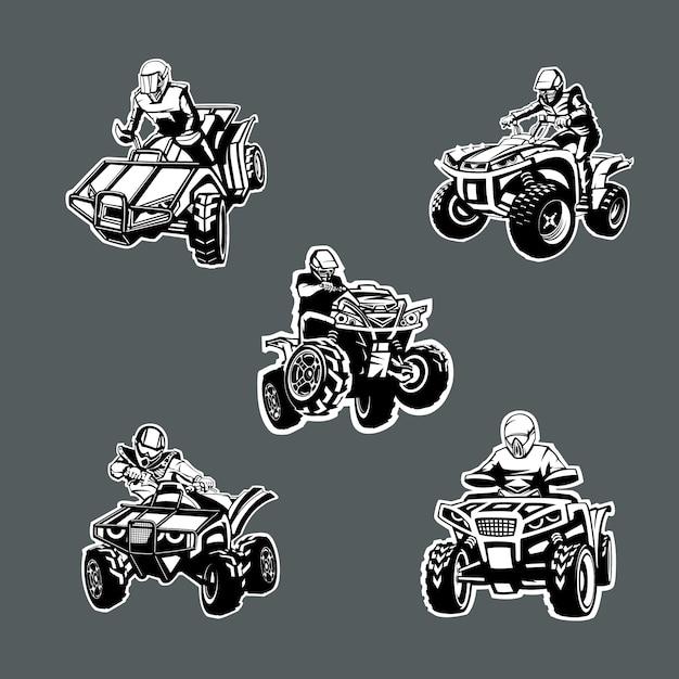 Conjunto de cinco bicicletas de uma cor quad em ângulos diferentes em fundo escuro. Vetor Premium