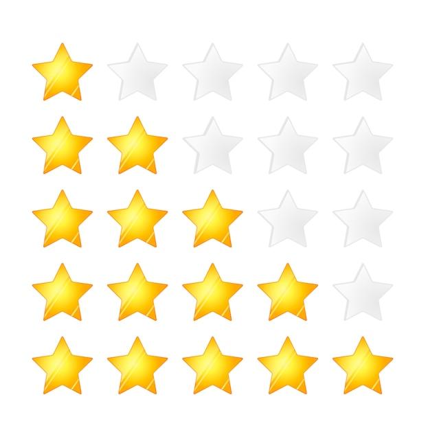 Conjunto de cinco estrelas douradas, isolado Vetor Premium