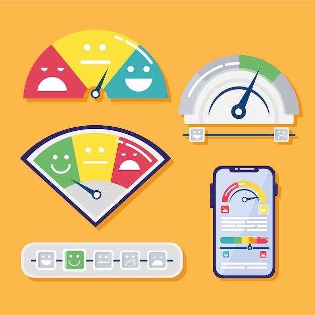 Conjunto de cinco ícones de conjunto de satisfação do cliente e ilustração de smartphone Vetor Premium