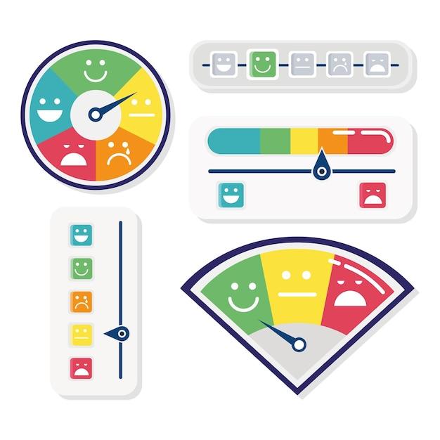 Conjunto de cinco indicadores de satisfação do cliente e ilustração de ícones de barras Vetor Premium