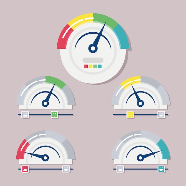 Conjunto de cinco medidores de satisfação do cliente medem ilustração Vetor Premium