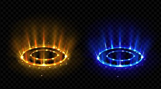 Conjunto de círculos de efeito holograma vs. Vetor grátis