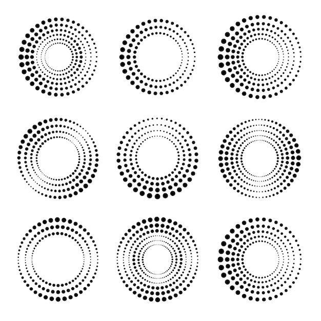 Conjunto de círculos de meio-tom. coleção de formas circulares pontilhadas Vetor Premium
