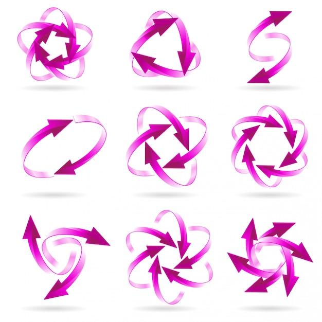 Conjunto de círculos de seta Vetor Premium