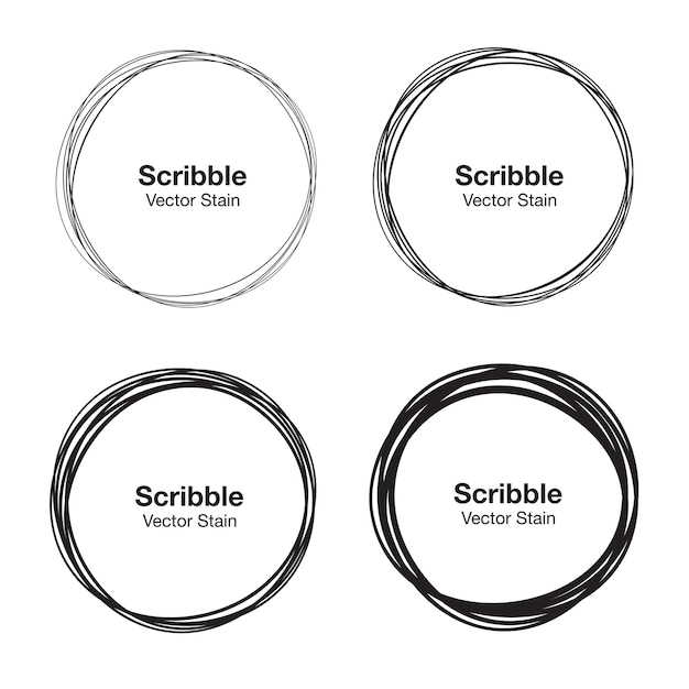 Conjunto de círculos desenhados à mão usando linhas de círculo de rabisco de desenho de esboço. Vetor Premium
